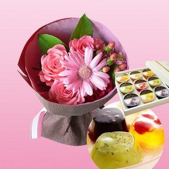 千疋屋 ゼリー&ピンクの花束